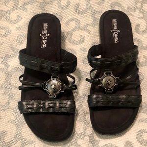 Minnetonka Leather Slip on Sandals Braided Straps